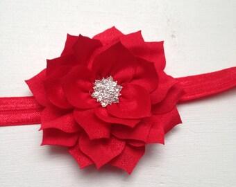 Red poinsettia headband, red elastic headband, christmas headband, red flower headband, girl headband, red wedding flower girl birthday gift