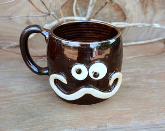 Manly Mustache Ug Chug Mug. Dad's Funny Coffee Cup. Large 16 Ounce Stoneware Pottery Clay Mug.  Dark Chocolate Brown Black.