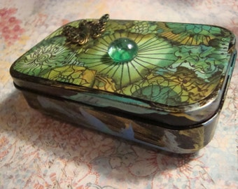 Garden Fairy ALTERED ALTOID TIN, Treasure Box, Gift Box, Fairy, Poetry