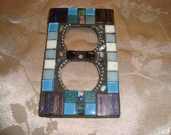 MOSAIC Electrical Outlet COVER, Mainly Blue,  Wall Art, Home Decor