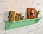 Handmade 30-inch Long One Level Wall Shelf with Vintage Robin's Egg Finish - IN STOCK - Same Day Shipping - Wooden Display Shelf