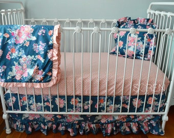 Coral and Navy Crib Bedding, Flora Blue, Free Pillow Cover