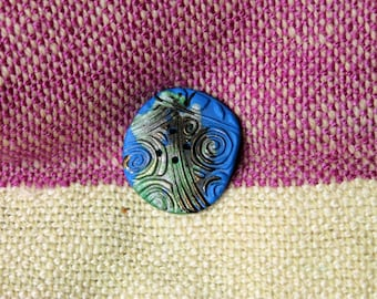 Big Button, Handmade, Blue with green black and metallic gold