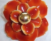 vintage large really large brownish orange petaled flower ring with gold tone center