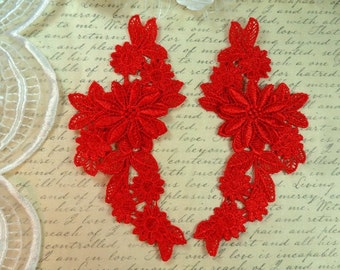 "Embroidered Appliques Red Mirror Pair Floral 3D Flowers 7"" (GB434X-rd)"