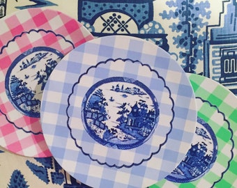 Melamine chinoserie gingham SALAD plates