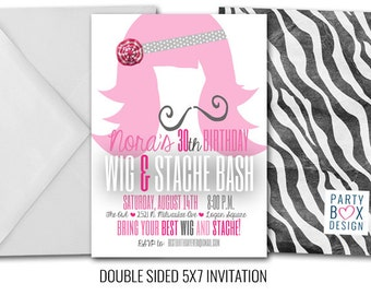 Wig and Stache Birthday Bash (20 printed invites 5 by 7)