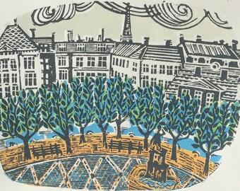 Town Square Linocut Print