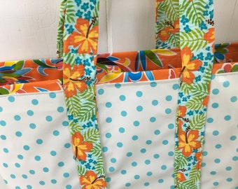 Beach beach beach----Large reversible oilcloth tote bag in aqua and orange