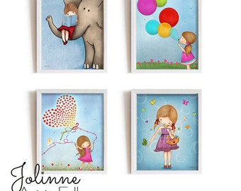 Prints for little girl room, Kids Bedroom Decoration, Baby Nursery Posters Collection, Elephant nursery room, custom hair skin color artwork