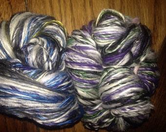 "192 Yards Handspun Merino, Silk, Bamboo, Nylon - 2 Skeins ""Spring Violet"" and ""Delphinium 2"""