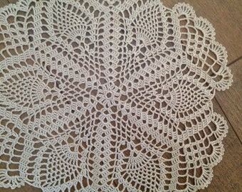 Crochet lace  ecru doily,  gift , ready to display,center piece, napkin, naperon