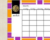TORY Calendar - Monthly Calendar Desk Pad - Desk Calendar by A Blissful Nest - Orange / Purple