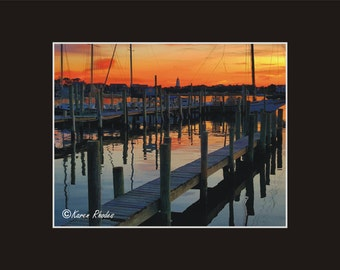 Sunset Ocracoke harbor  Lighhouse Photographic Print matted in black North Carolina