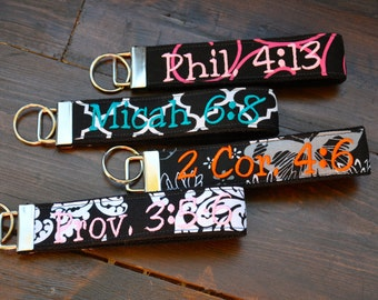 Custom Embroidered Key fob, Wristlet Keychain, - you pick the name or monogram or small phrase