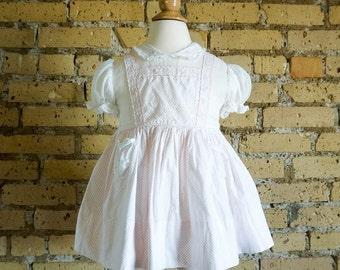 Vintage 1960s Girls Size 2-3T Dress / 60s Yolande Party Dress / Organza Bodice, Polka Dot Cotton Gathered Skirt, Sewn-In Petticoat