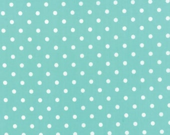 Prairie Fabric by MODA White Polka Dots Dot on Aqua Blue
