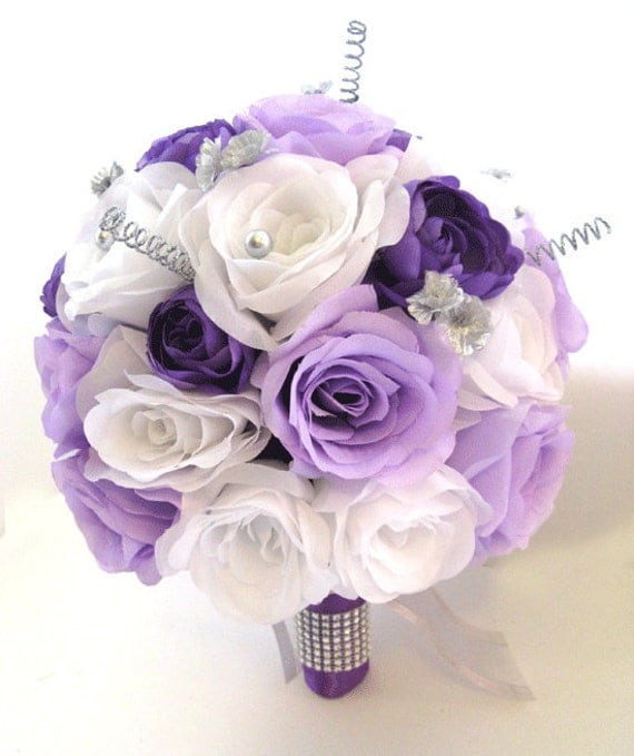Wedding Flowers Silk Bridal Bouquet 17 Piece Package LAVENDER