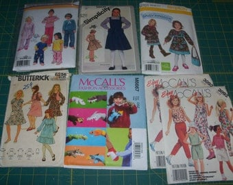 Mixed Lot of 7 Sewing Patterns for Childrens Clothing Sizes 5-8