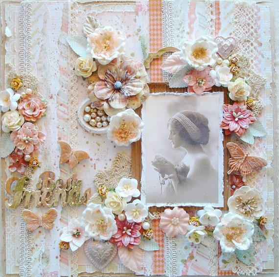Premade 12x12 Scrapbook Layout Shabby Chic By Scrapbooksbyphyllis