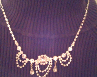 ON SALE Rhinestone Downton Abbey necklace