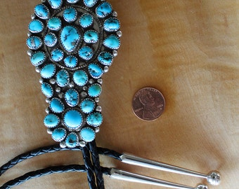 Turquoise Silver Bolo Tie Vintage 1970s
