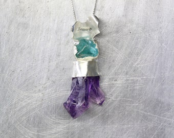 Raw Amethyst Twin Crystal Tumbled Apatite Silver Necklace Purple Lavender Seafoam Blue Teal Underwater Ocean February Birthstone - Coral