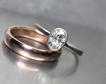Modern Oval Moissanite Wedding Ring Set White Gold Engagement Rose Gold Band Forever Brilliant Women's Minimalistic Elegant - Ovoidal Rose