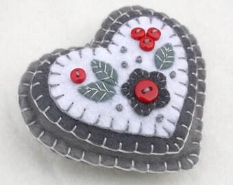 Felt Christmas ornament,  Embroidered felt heart ornament, red and grey heart, Felt heart Christmas ornament, Handmade heart decoration