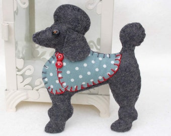 Poodle Christmas ornament, Felt dog ornament, Poodle ornament, Dog Christmas Ornament, Handmade felt Poodle, Black poodle ornament, Lulu.