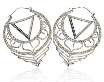 Hoop earrings, Silver Hoops, Ornamented large drop shape Silver earrings, Tribal jewellery, Tribal earrings, Indian jewelry, boho earrings