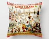 Fun Hostess Gifts - Decorative Throw Pillow Vintage Reproduction - Barnum & Bailey Circus // Modern Home Decor Throw Pillow Case