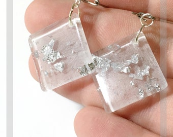 Square and round resin earrings