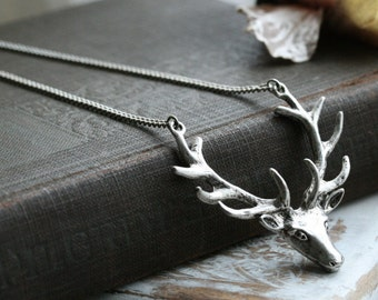 Moose necklace, Antler necklace, Deer necklace,  Animal necklace, simple silver necklace, minimalist, everyday jewelry , gift - Nature