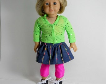 18 inch doll clothes, 3 piece outfit, Unitard, Skirt and Cardigan, Made to fit 18 inch dolls such as American Girl, 02-0879