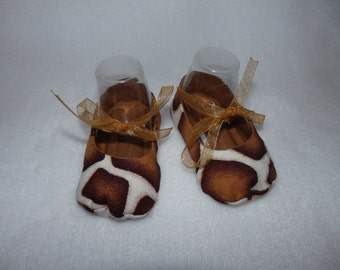 Ready to Ship - Size 0-3 Months - GIRAFFE and BROWN Mary Jane Baby Shoes - Sizes Available 0-3, 3-6, 6-9, 9-12 & 12-18 Months