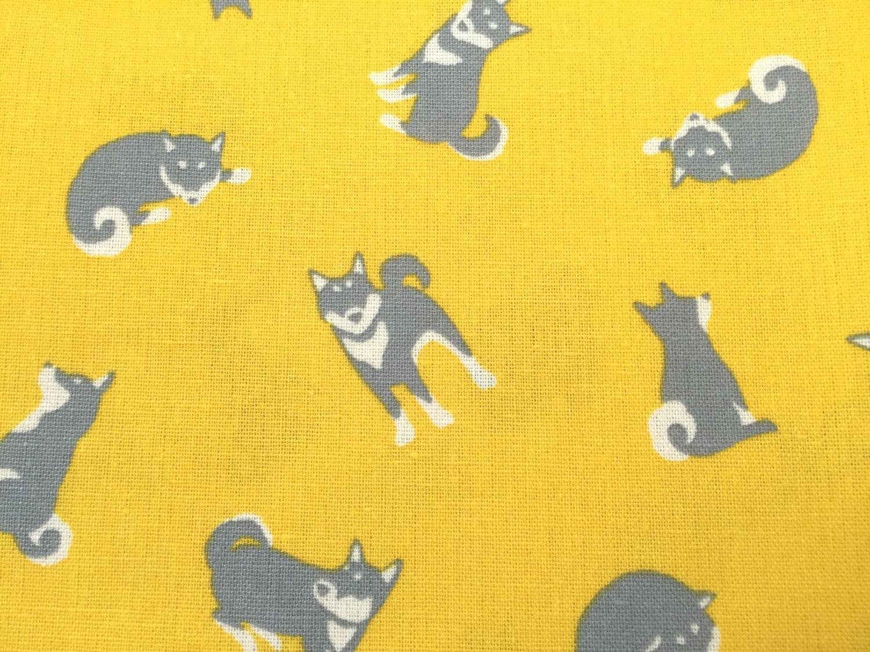 Scrapbook paper dogs - Japanese Cotton Linen Blended Fabric Kawaii Shiba Inu Dog Animal Print Fabric Yellow 1 Yard 1 Meter One Yard Sewing Supplies Jf07