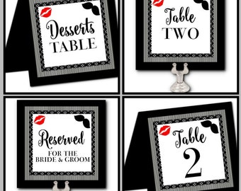 Table Number Cards, Wedding, Engagement Party, Rehearsal Dinner, Bridal Shower, Lips & Mustache, Red, Black, Flat or Tent Style