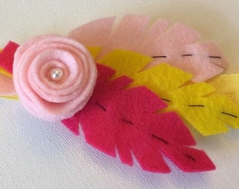 Miss Rose felt feather and flower headband.  Tropical citrus pinks and lemon.
