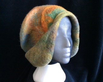 Unusual merino wool earmuff winter hat