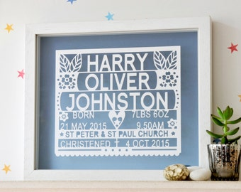 Personalized Christening Paper cut Wall Art, gift for christening, gift for baptism, personalized baby gift, personalised baby present