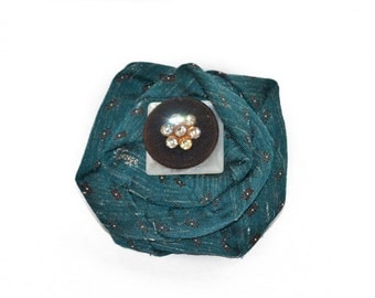 Scarf Pin, lapel pin, hat pin, fabric flower pin, teal flower brooch, fiber art corsage, OOAK