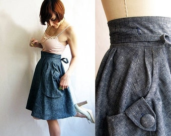 Black Friday SALE Denim wrap skirt - Heartland Dusty Blue Hemp & organic cotton - eco fashion skirt