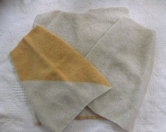 Felted 100% Shetland Wool Sweater Remnants Off White Cream Yellow Fabric Material Recycled Sewing Craft Projects