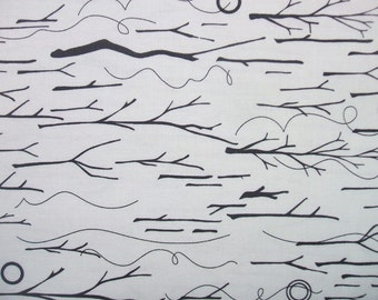 Abacus Sticks & Twine Alison Grass Black White Andover Fabric Yard