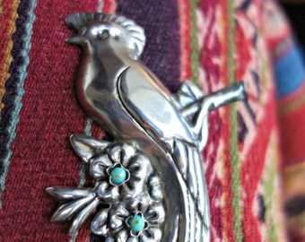 Mexico Bird Sterling Turquoise Brooch Large Fabulous