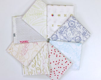 Abacus Fat Quarter Bundle (colored prints) by Alison Glass for Andover Fabrics- 8 prints