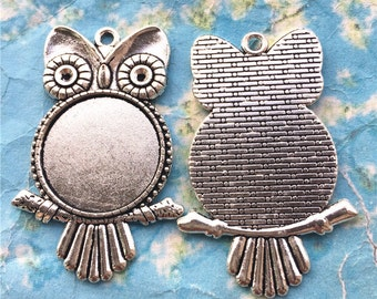 New come--5pcs 57x30mm Antiqued silver round picture/photo frame charms/pendants owl blanks(fit 25mm cabochon)