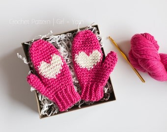 Instant Download | Valentine's Day Gift | Crochet Pattern Heart Mittens | Child, Adult Sizes Included