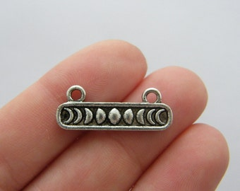 6 Moon connector charms antique silver tone M52